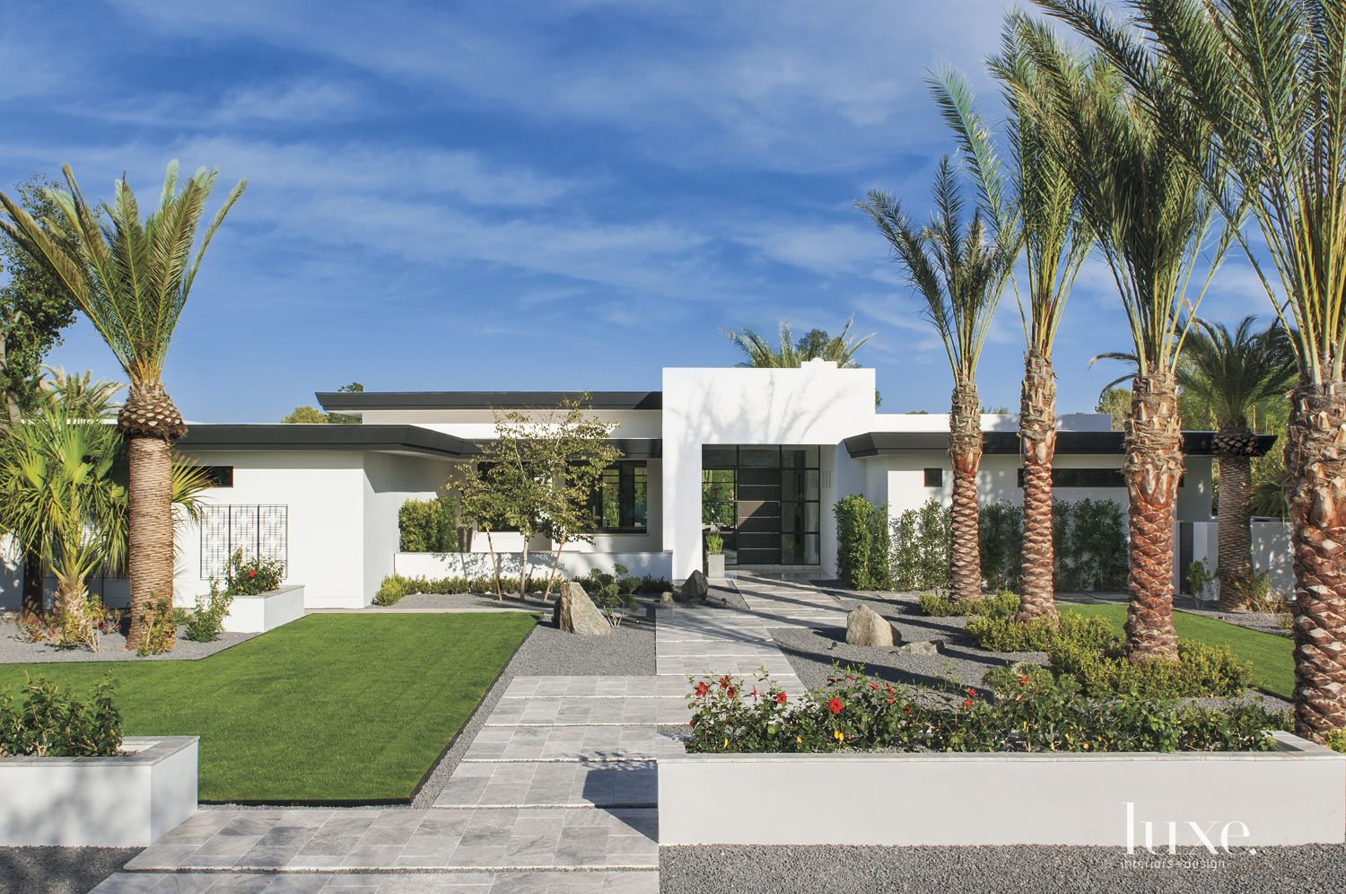 Modern White Flat Roof Front Elevation