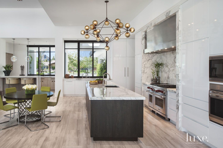 Modern White Kitchen with Geometric Chandelier