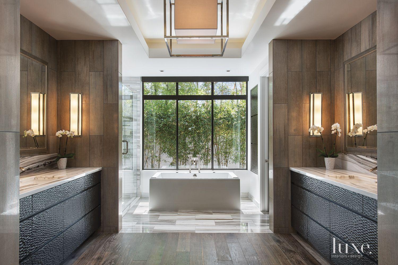 Modern Brown Bathroom with Deep Soaking Tub