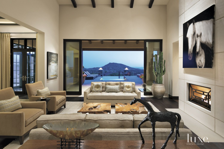 Contemporary Cream Living Room with Patio