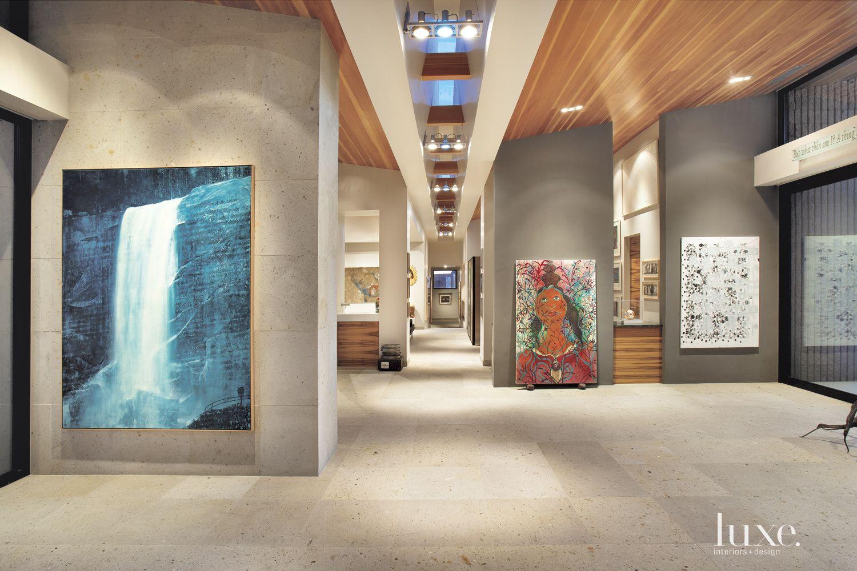 Modern Gray Central Hallway