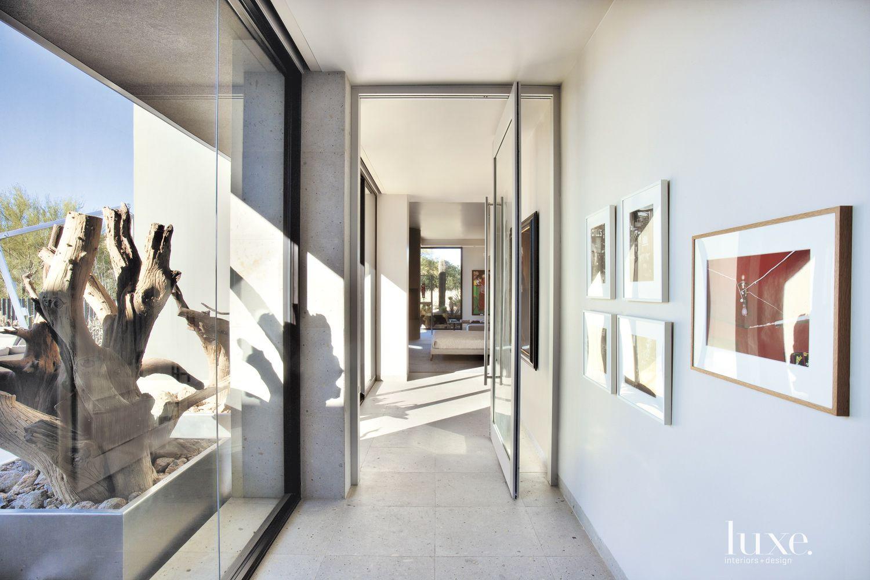 Modern White Glass Hallway