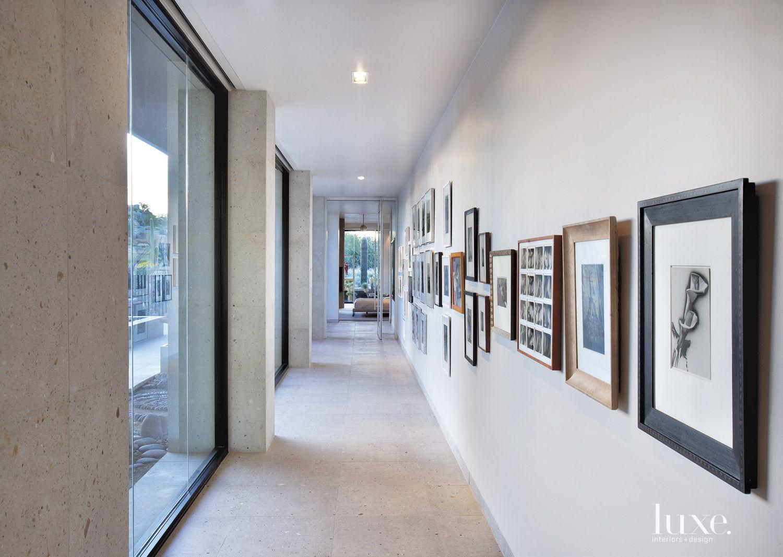Modern Cream Cantera Stone Hallway