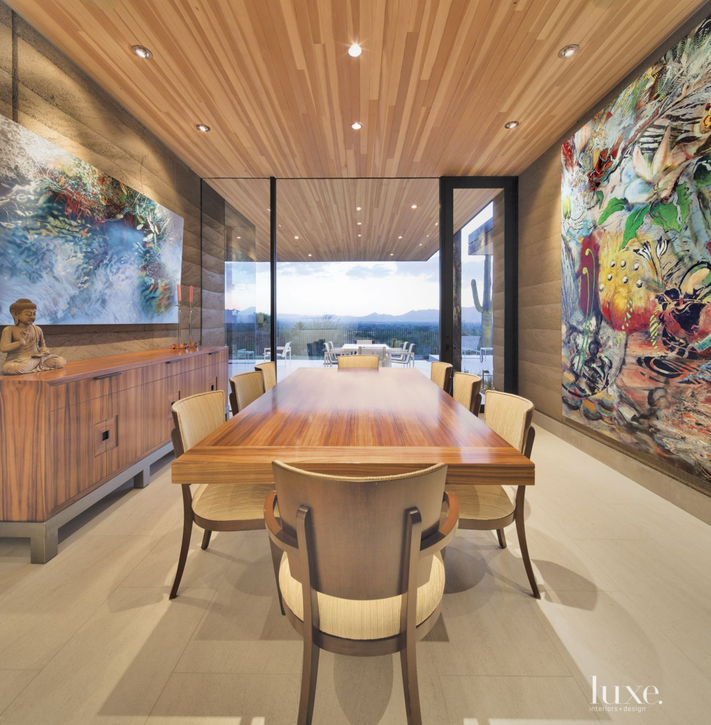 Modern Neutral Dining Room With Statement Art