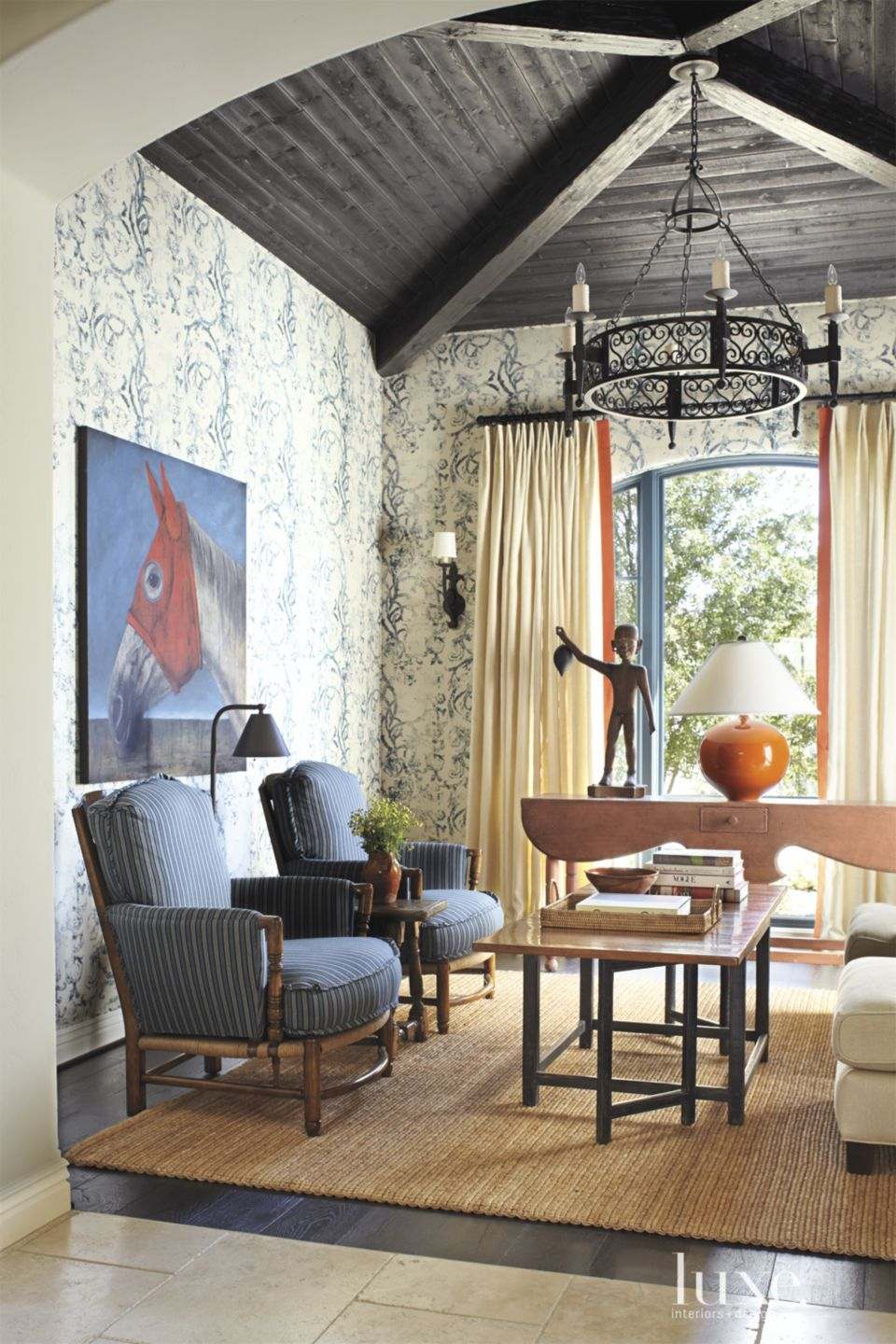 Mediterranean Morning Room with Upholstered Walls