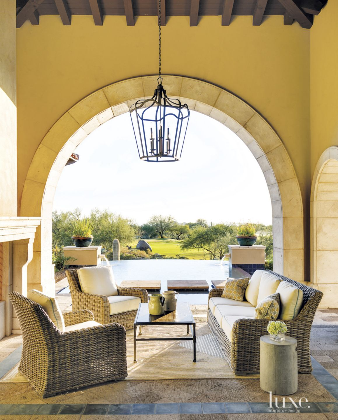 Mediterranean Yellow Covered Patio