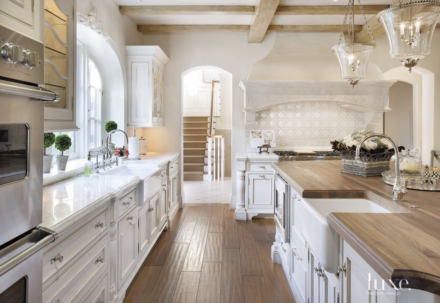 Country Cream Kitchen with Walnut Floors