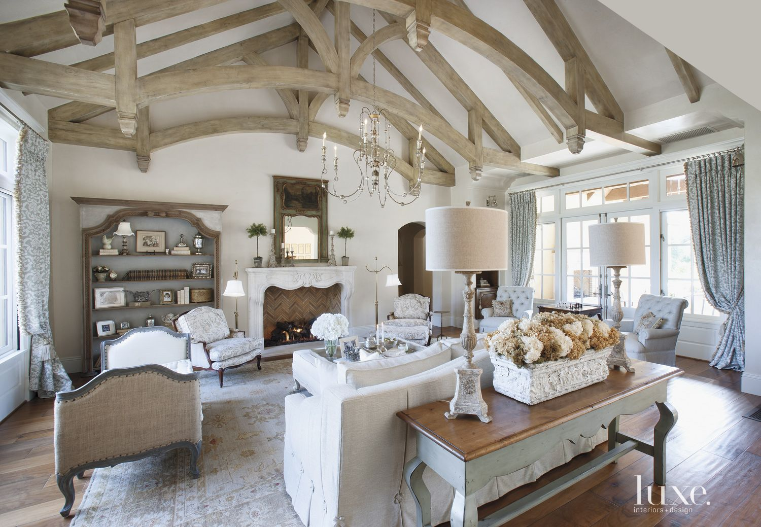 Country Cream Living Room with Vaulted Ceiling
