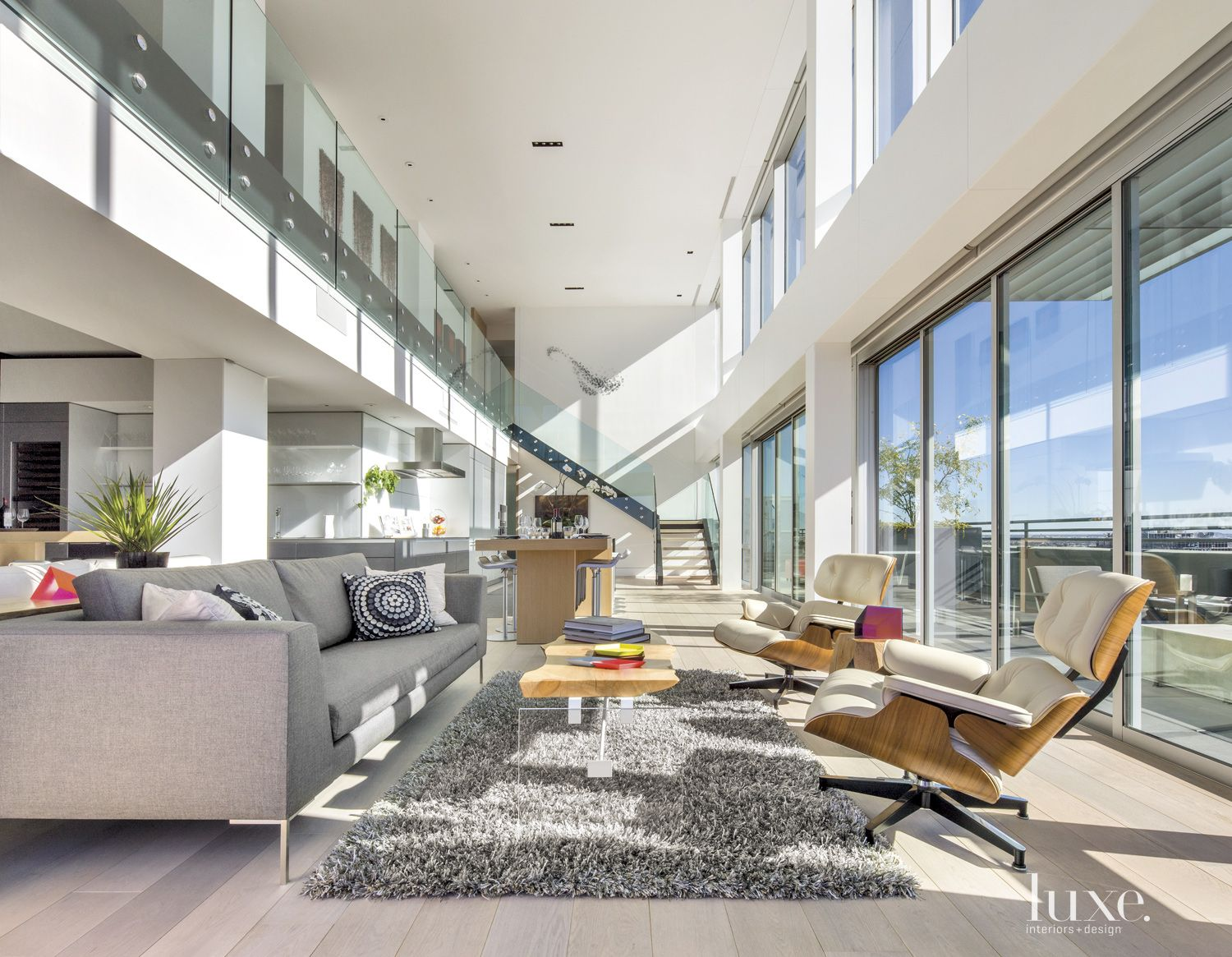 Contemporary Neutral Living Room with Custom Coffee Table