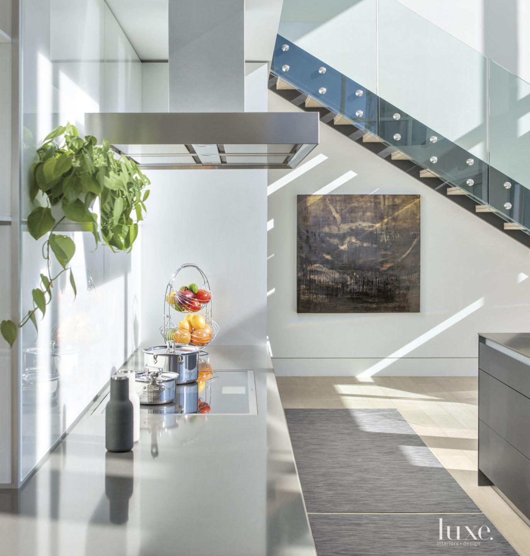 Contemporary White Kitchen with White Oak Flooring