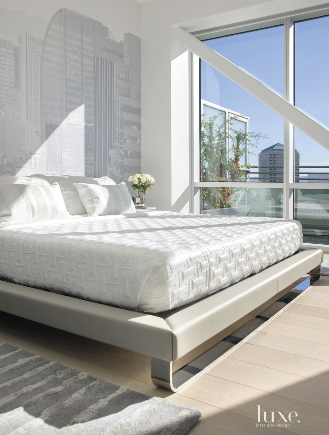 Contemporary White Bedroom with Wall Vinyl