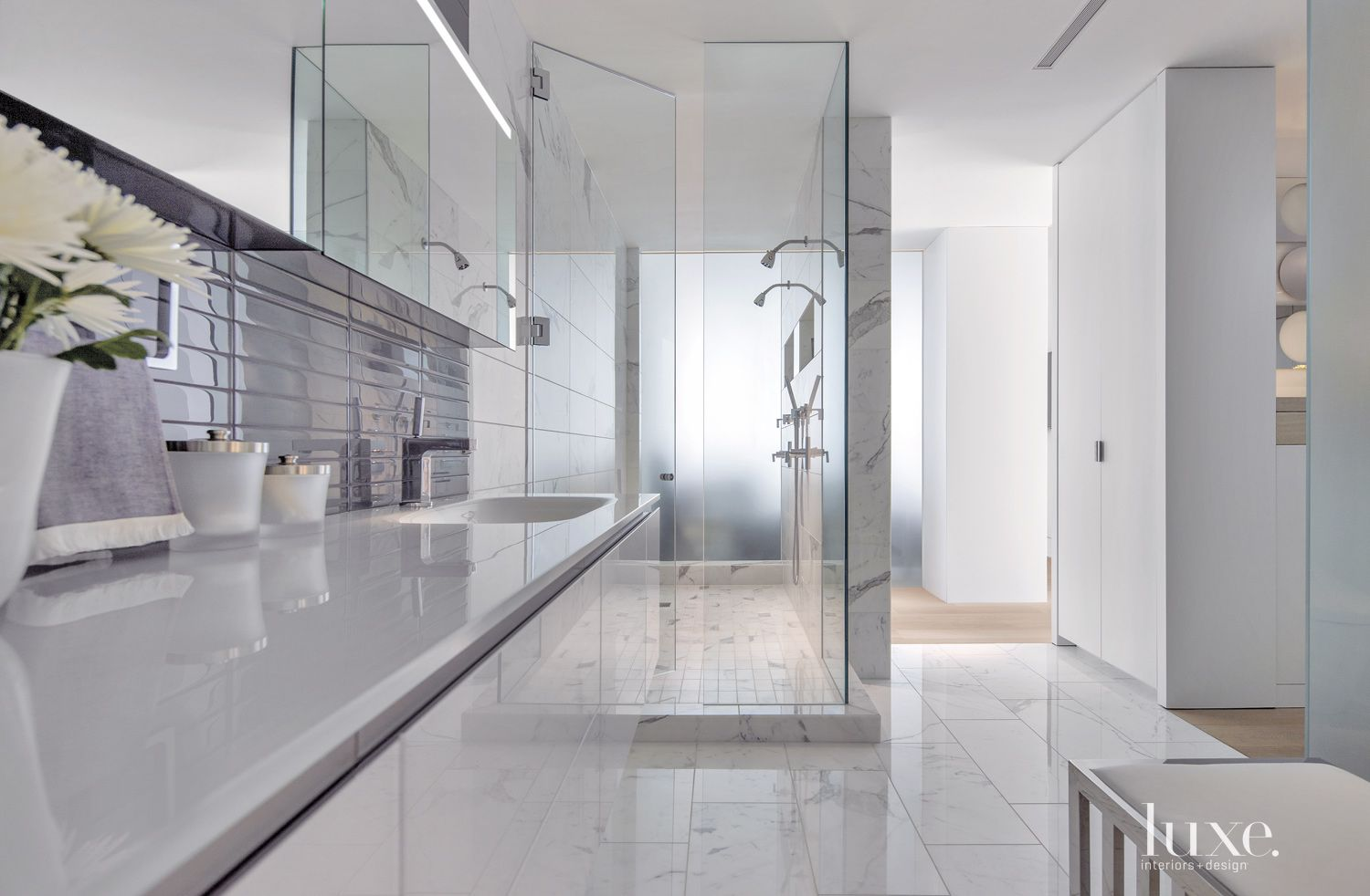 Contemporary White Bathroom with Glass Tile