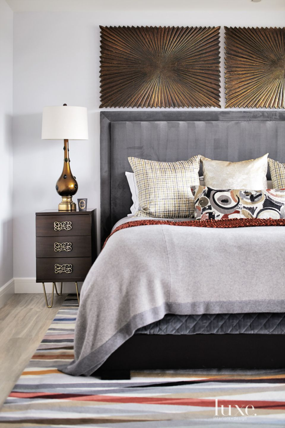 Eclectic White Master Bedroom Bed