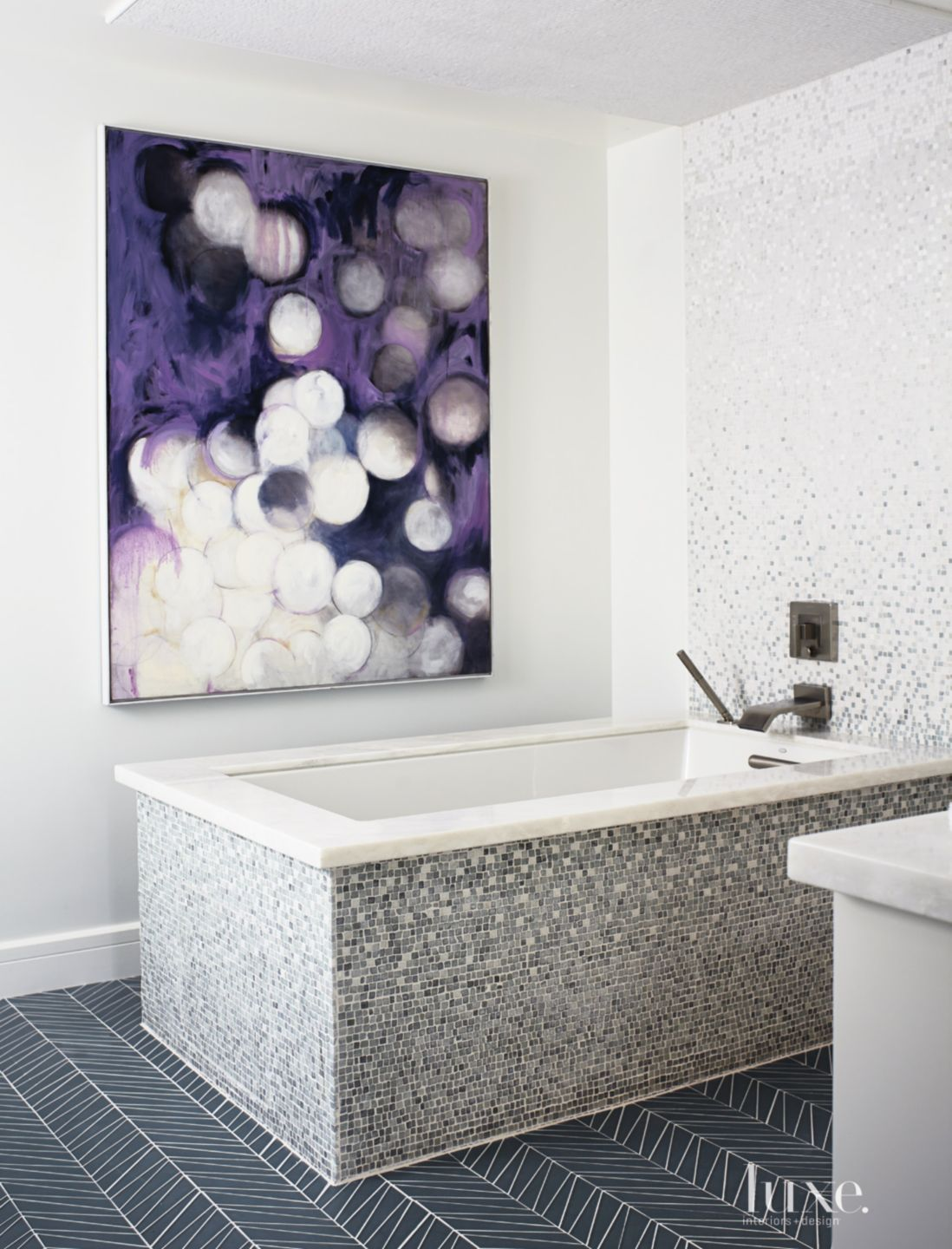 Eclectic White Master Bath Mosaic Tiled Tub