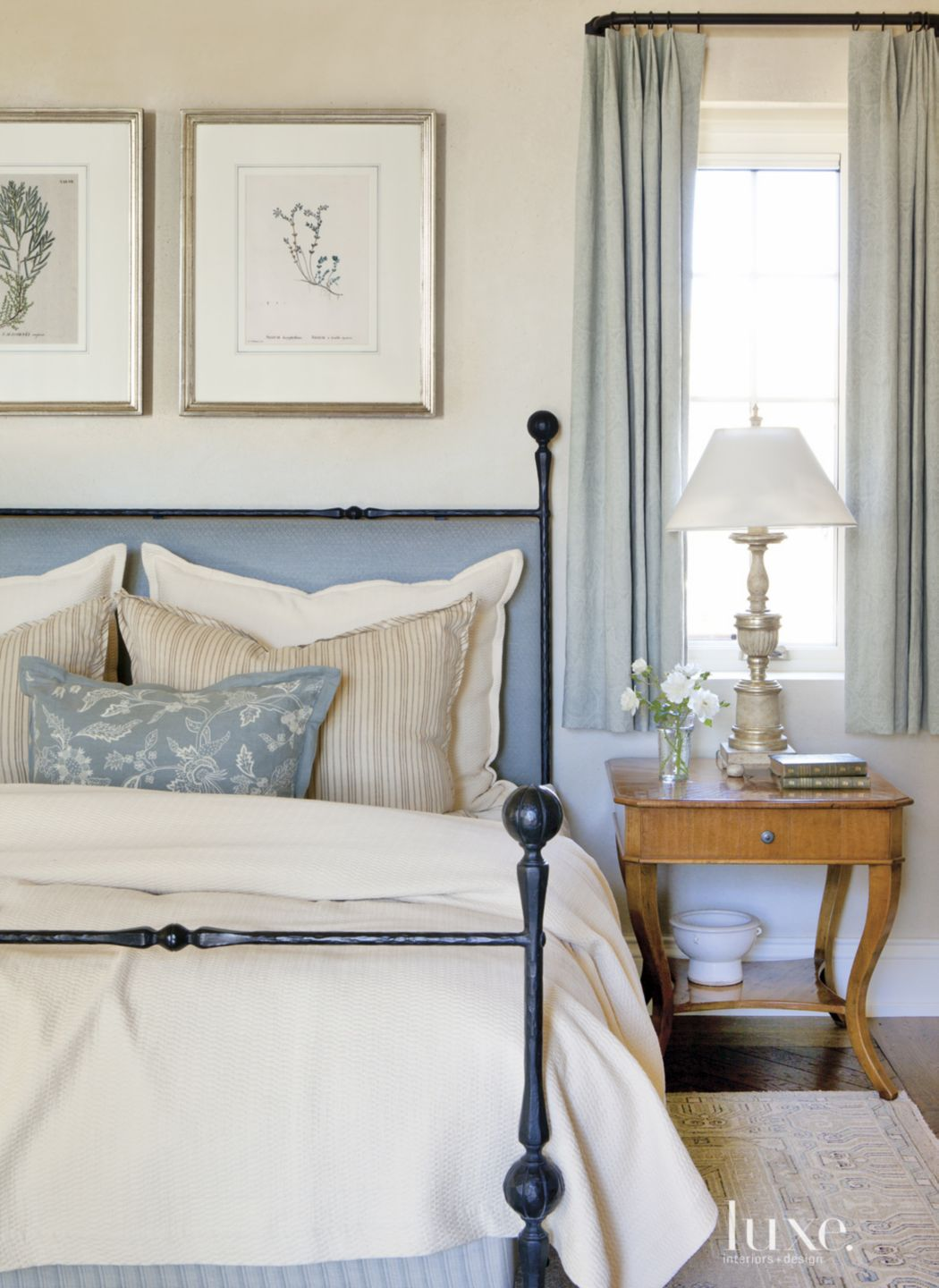 Mediterranean White Bedroom with Blue Hues