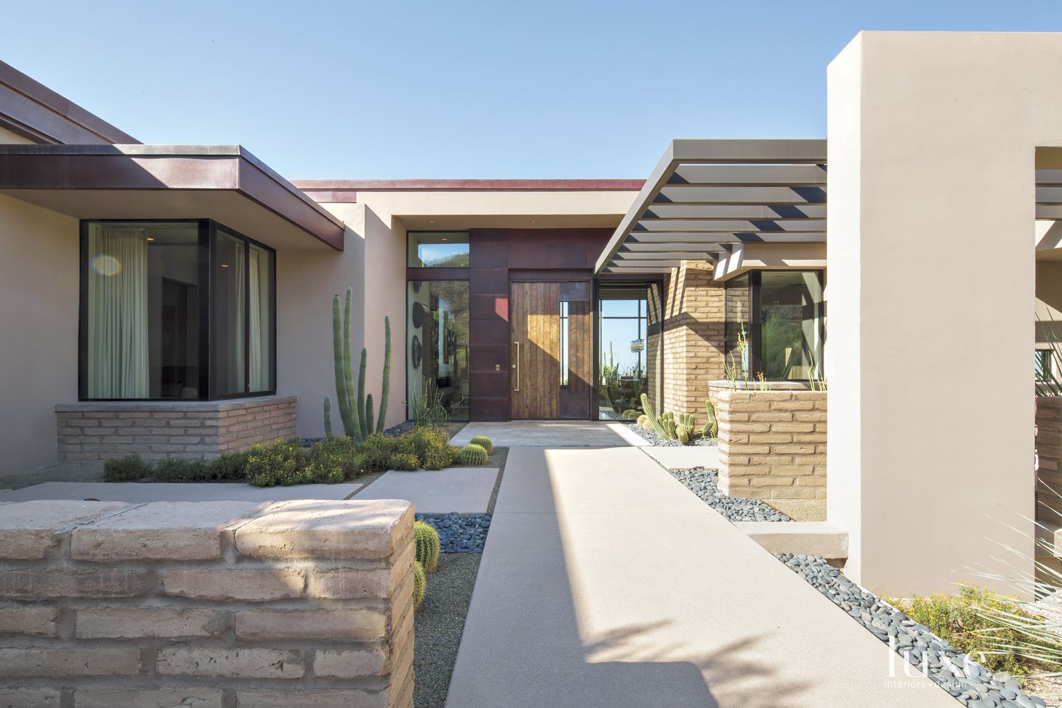 Contemporary Neutral Front Elevation with Cactus Plants