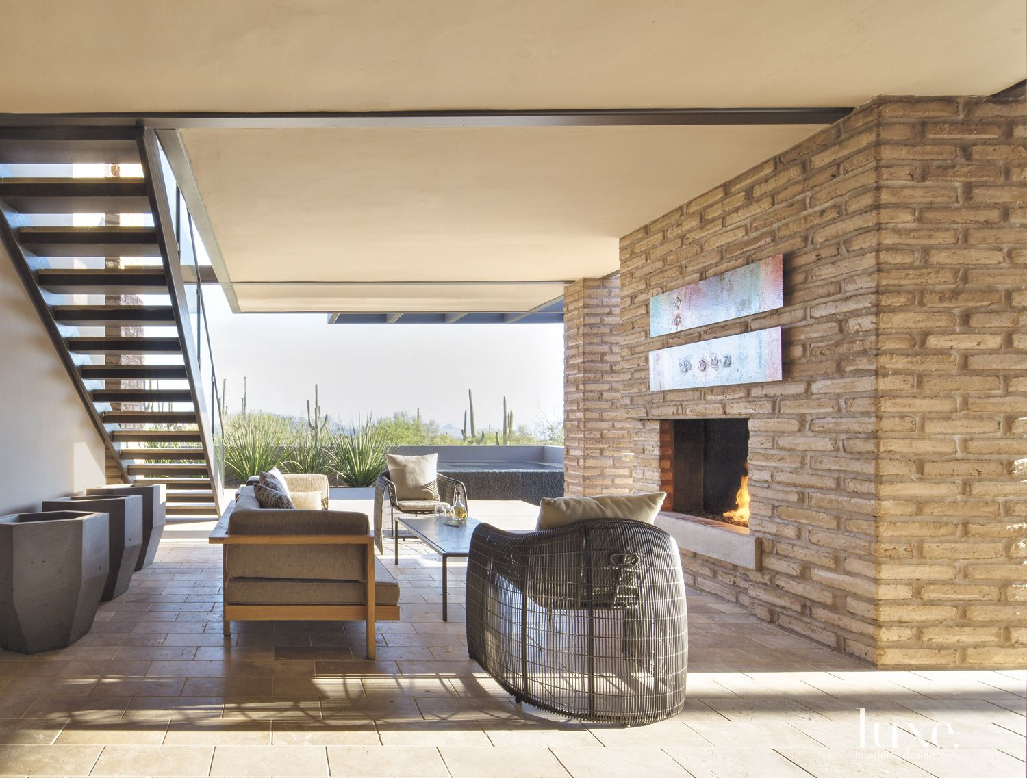 Contemporary Outdoor Living Room with Fireplace