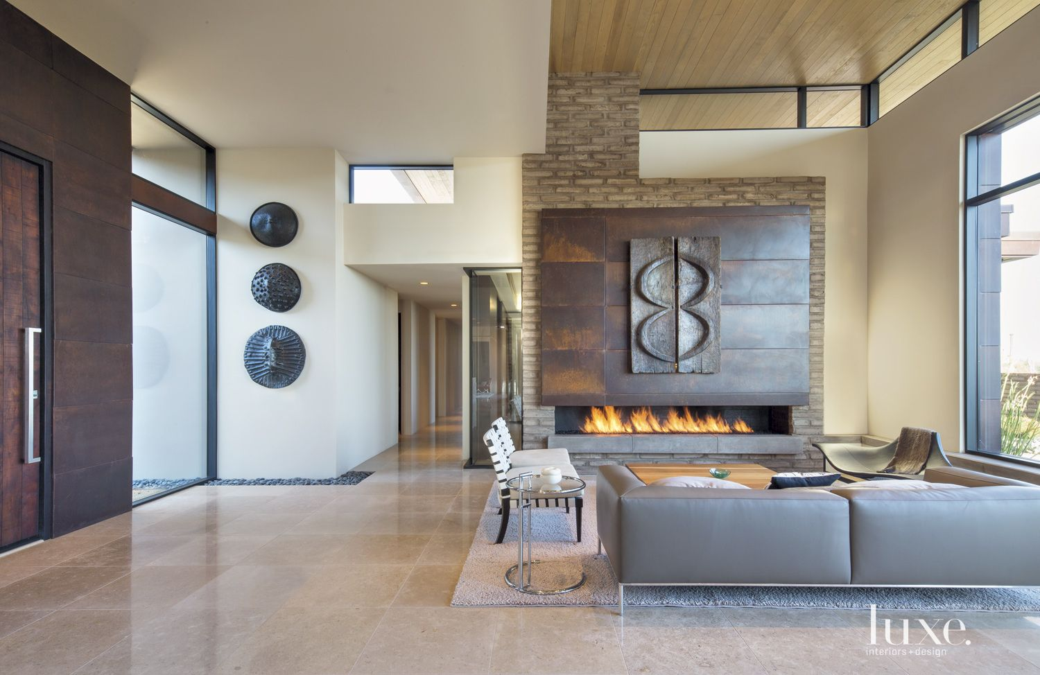Contemporary Neutral Living Room with Adobe Accent