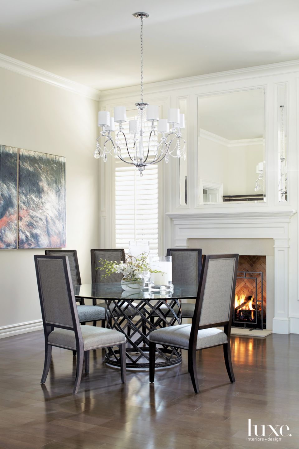 Traditional White Dining Room with Round Table