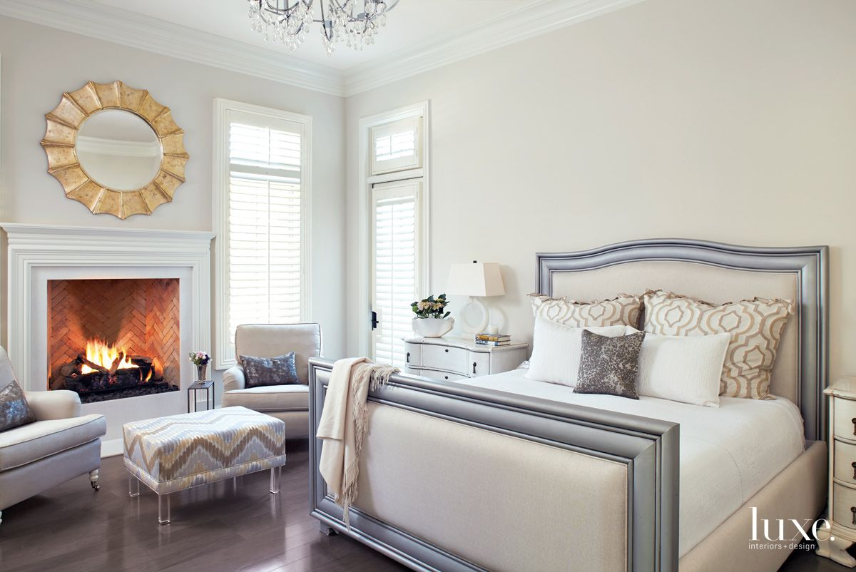 Traditional Cream Master Bedroom with Fireplace