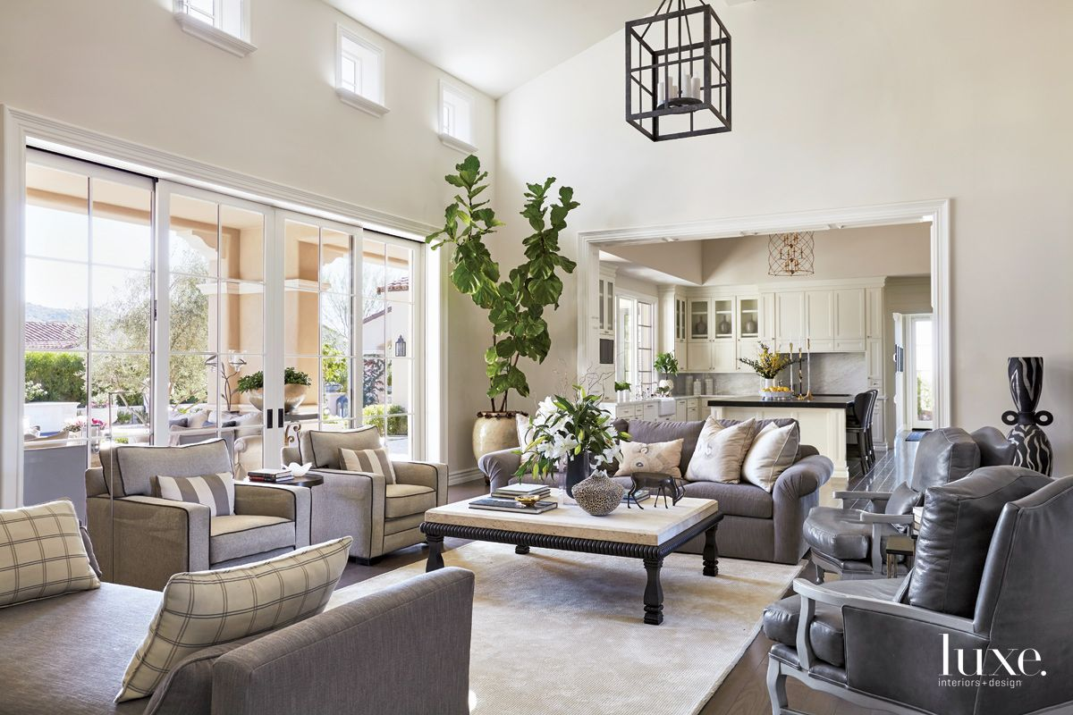 Traditional Cream Living Room with Silver-Gray Leather Furnishings