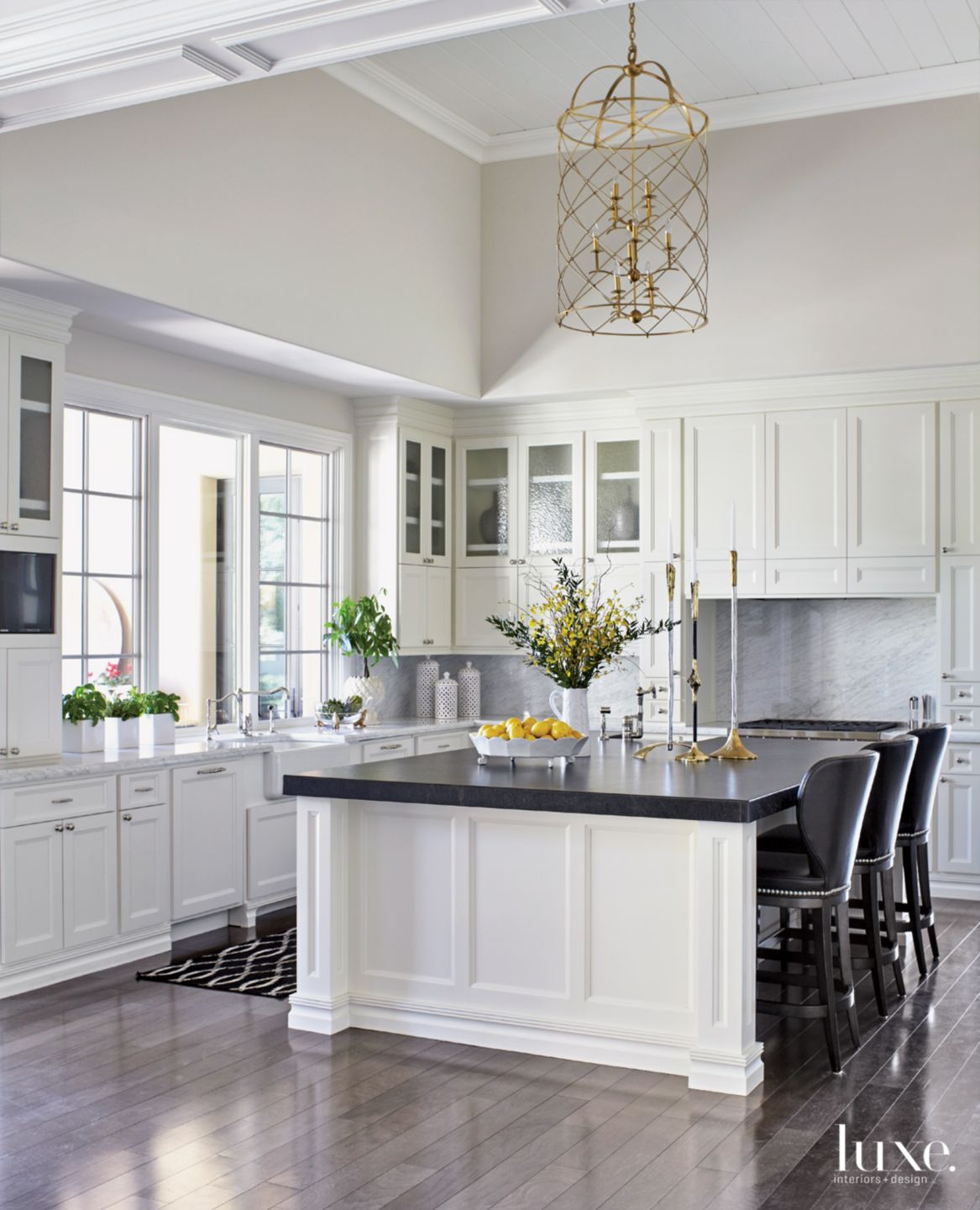 Traditional White Kitchen with Painted Cabinetry