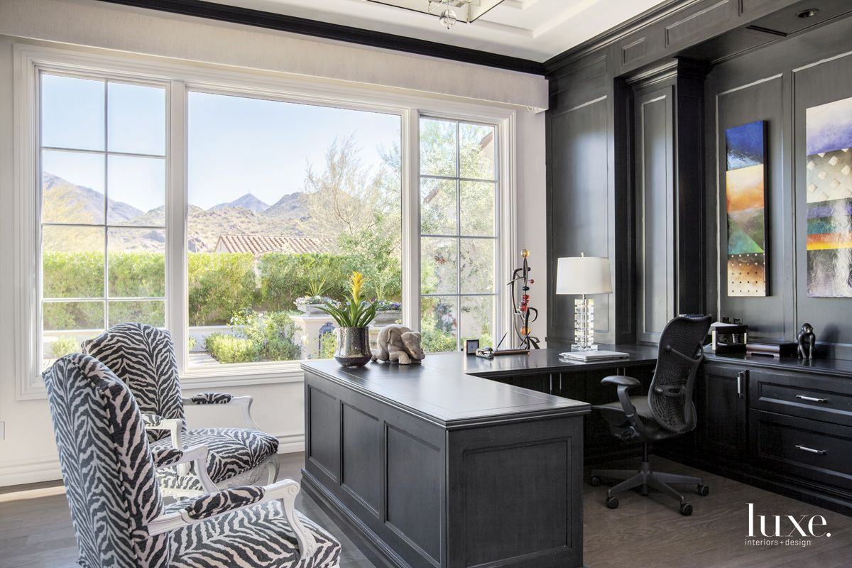 Eclectic Black and White Office with Mountain Views