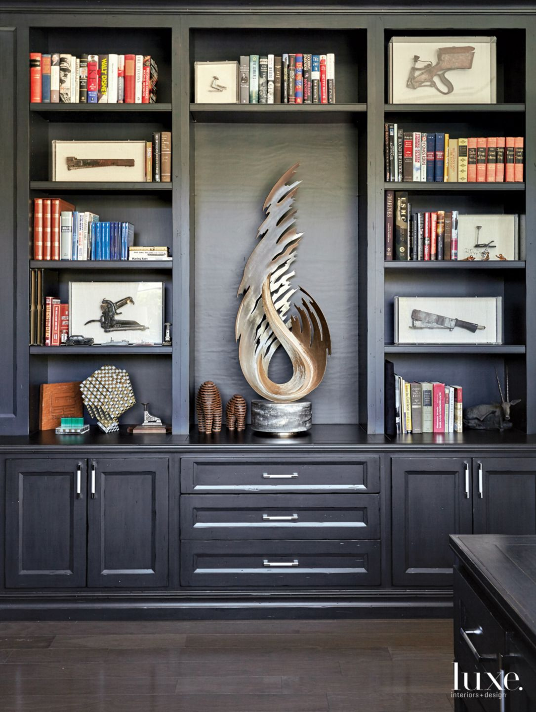 Traditional Black Office with Built-In Bookcases