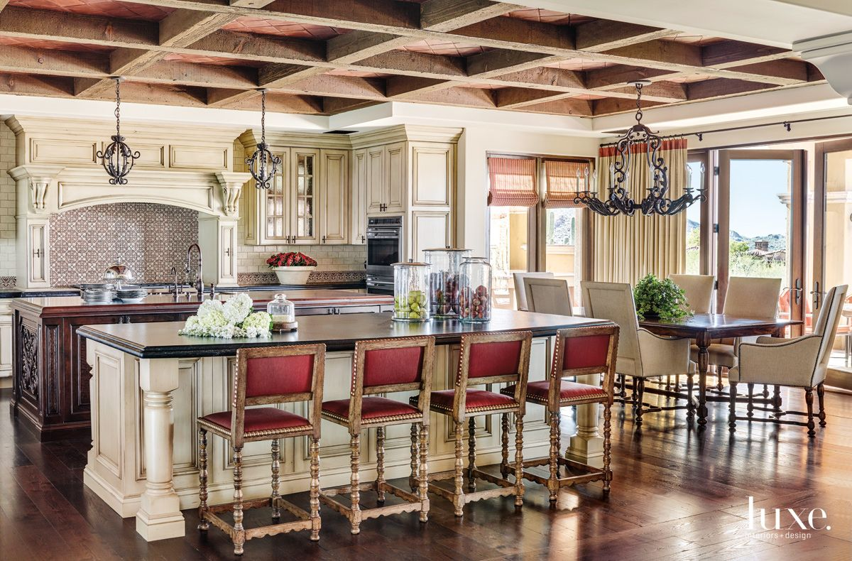 Traditional Cream Kitchen with Terra-Cotta Ceiling