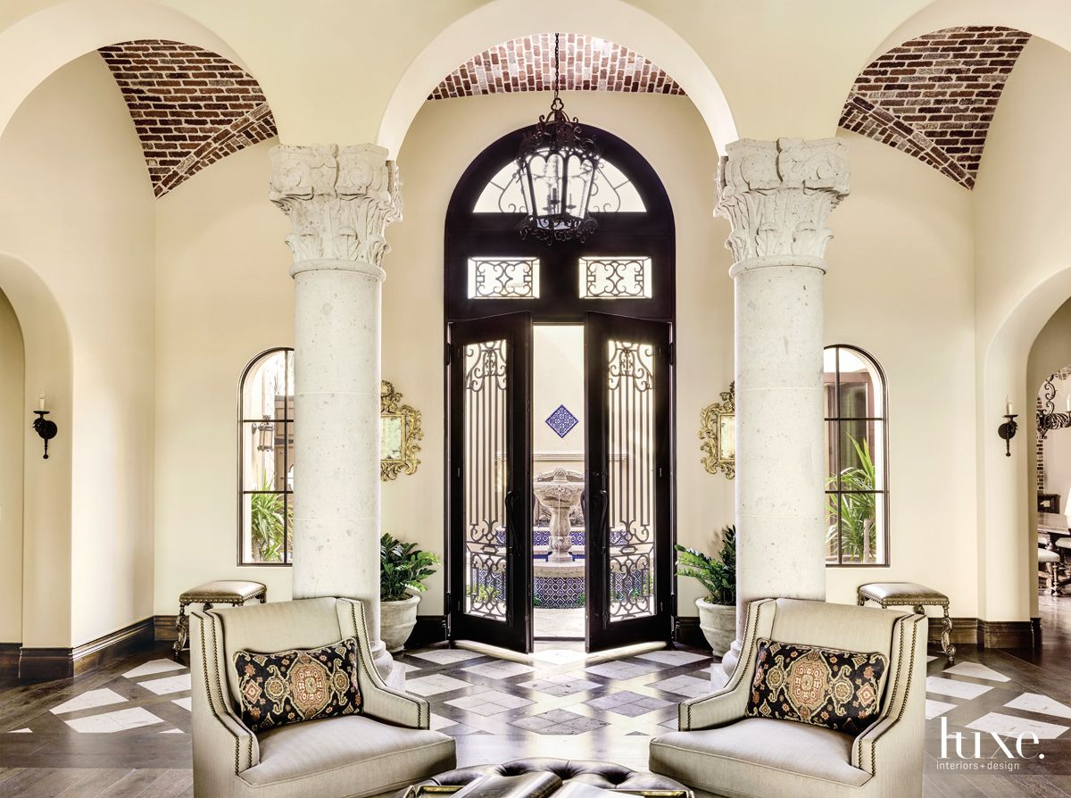 Traditional Cream Entry with Hand-Carved Columns