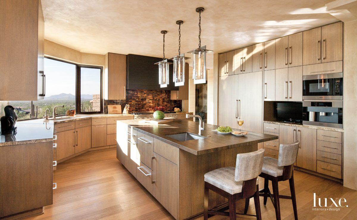 Contemporary Neutral Kitchen with Desert Views