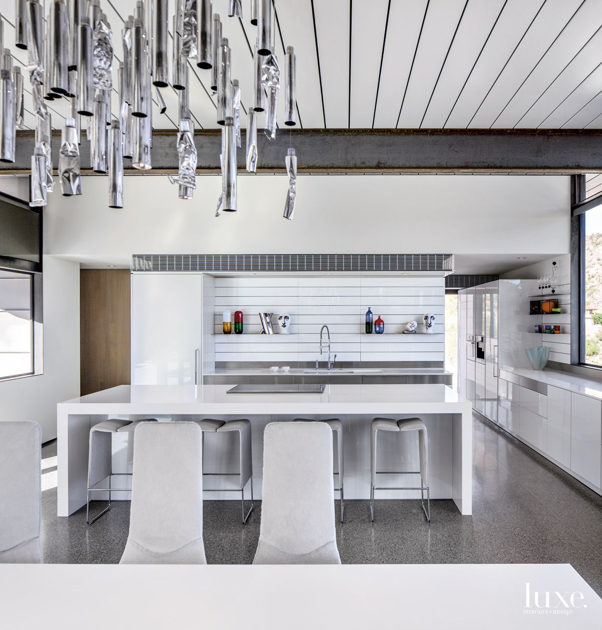 Modern Gray Kitchen with Exposed Steel Beams