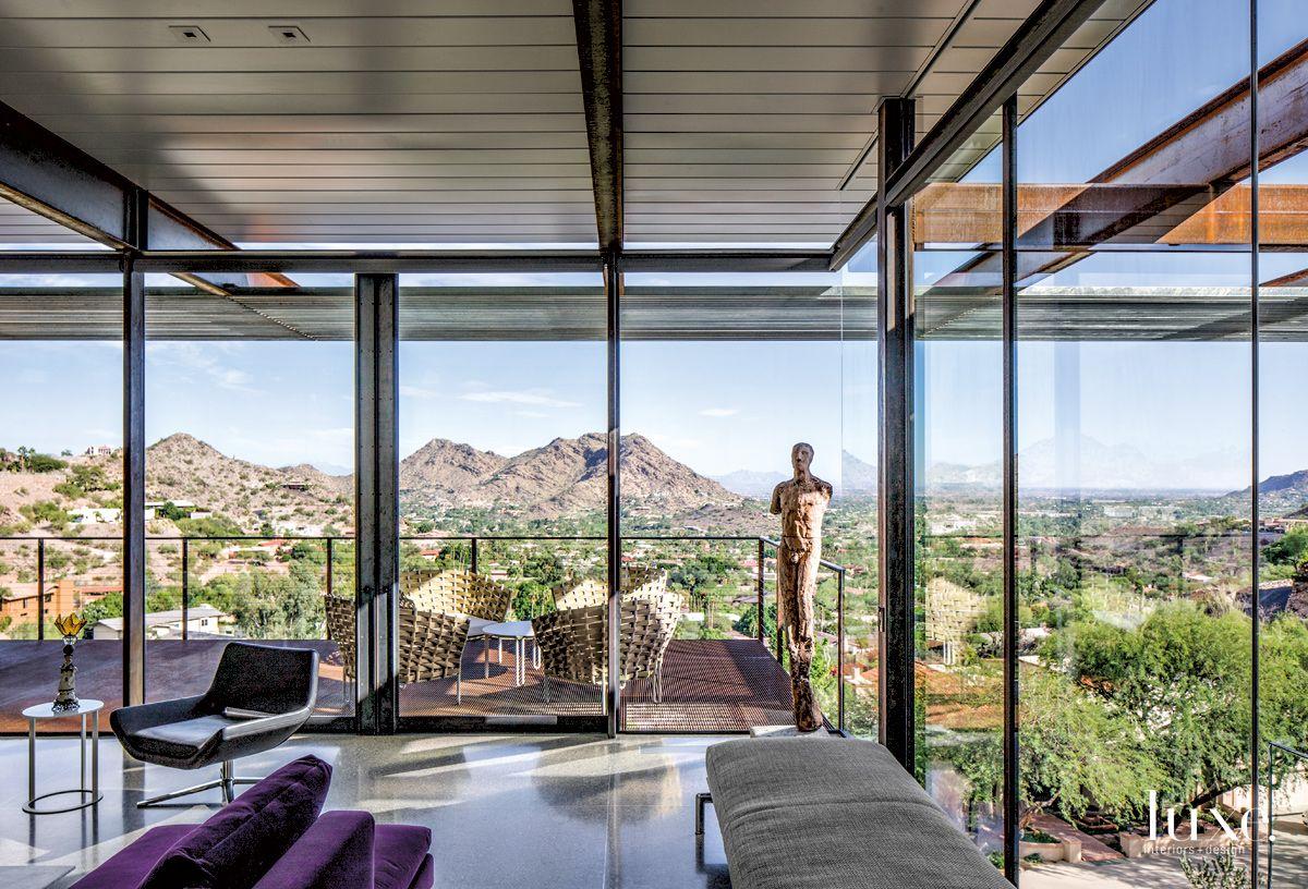 Modern Gray Living Room with Desert Landscape Views