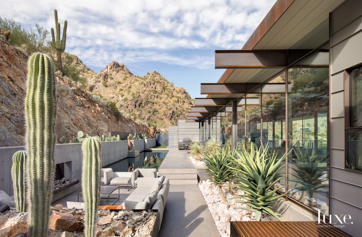 Modern Gray Outdoor Living Area with