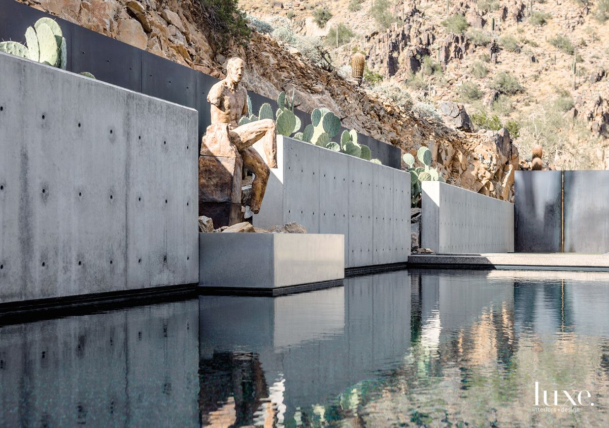 Modern Gray Pool Area with Concrete Walls