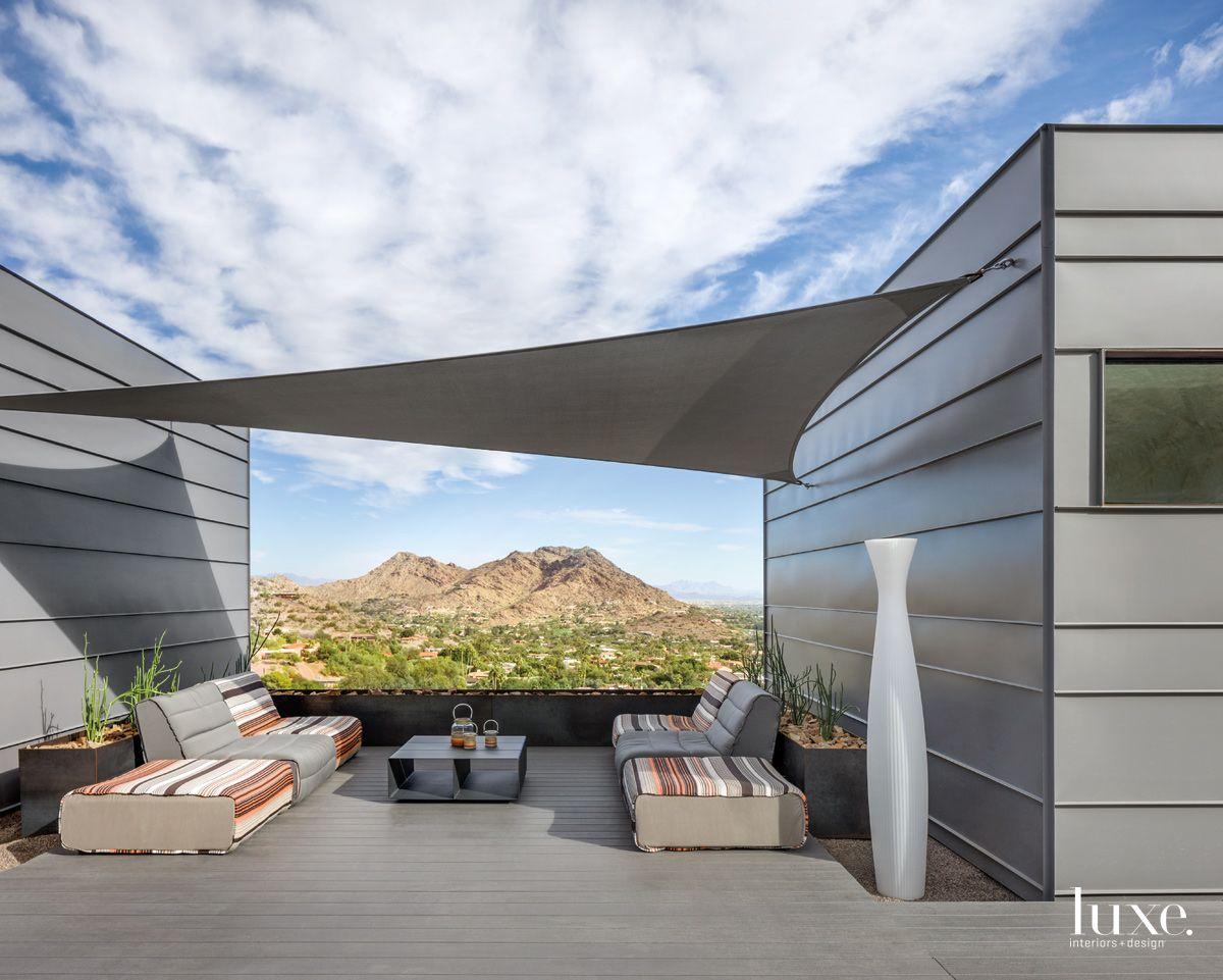 Modern Gray Outdoor Balcony with Custom Sunshade