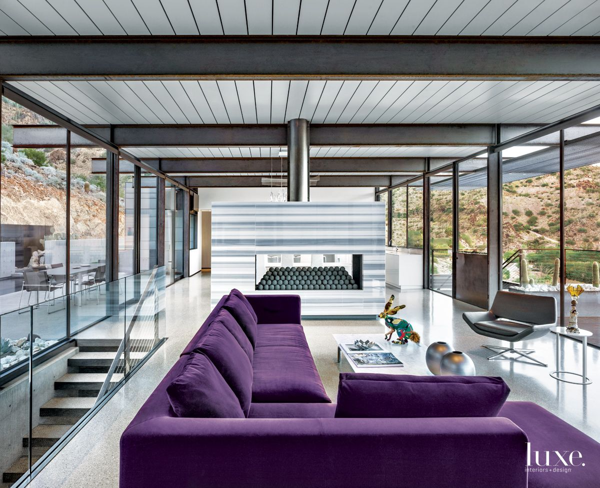 Modern Gray Living Room with Purple Sectional