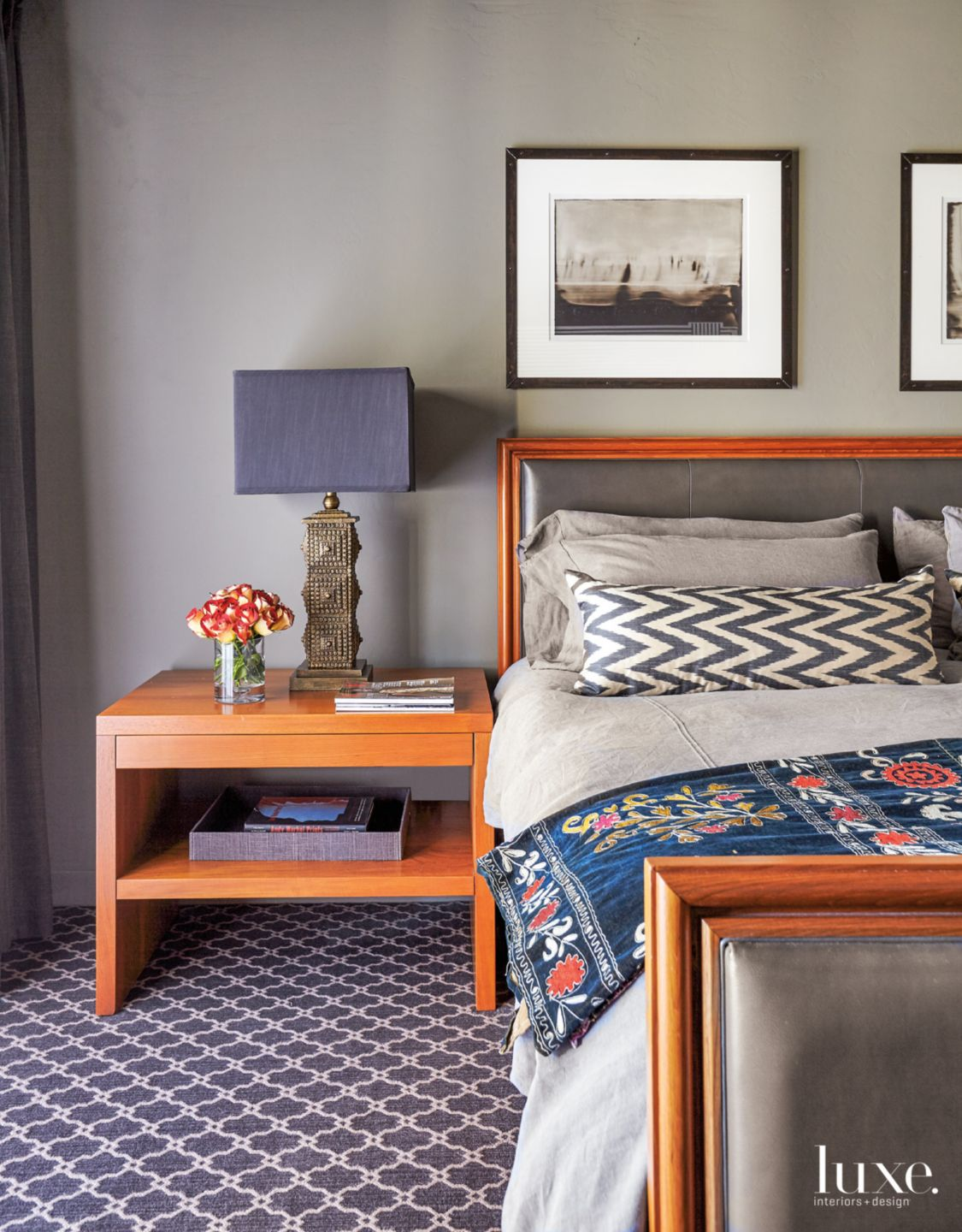 Transitional Gray Master Bedroom with Orange Accents