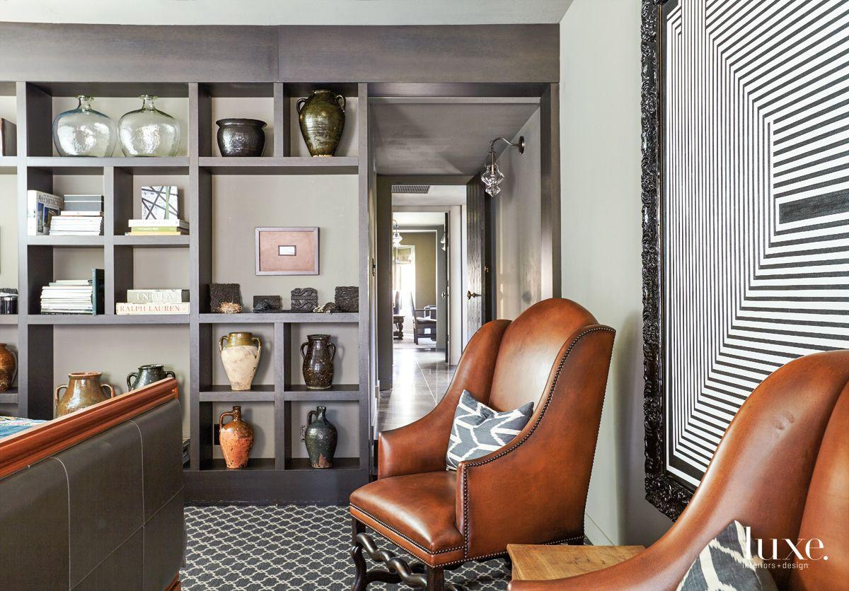 Transitional Gray Master Bedroom Vignette with Moorish Rug