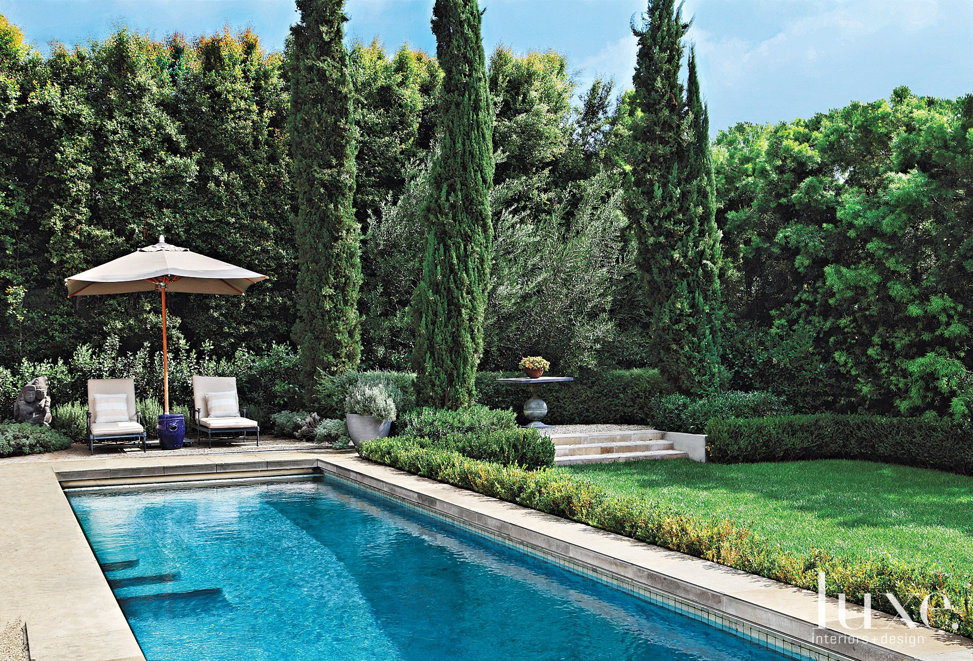 Mediterranean Neutral Lap Pool with Green Landscape