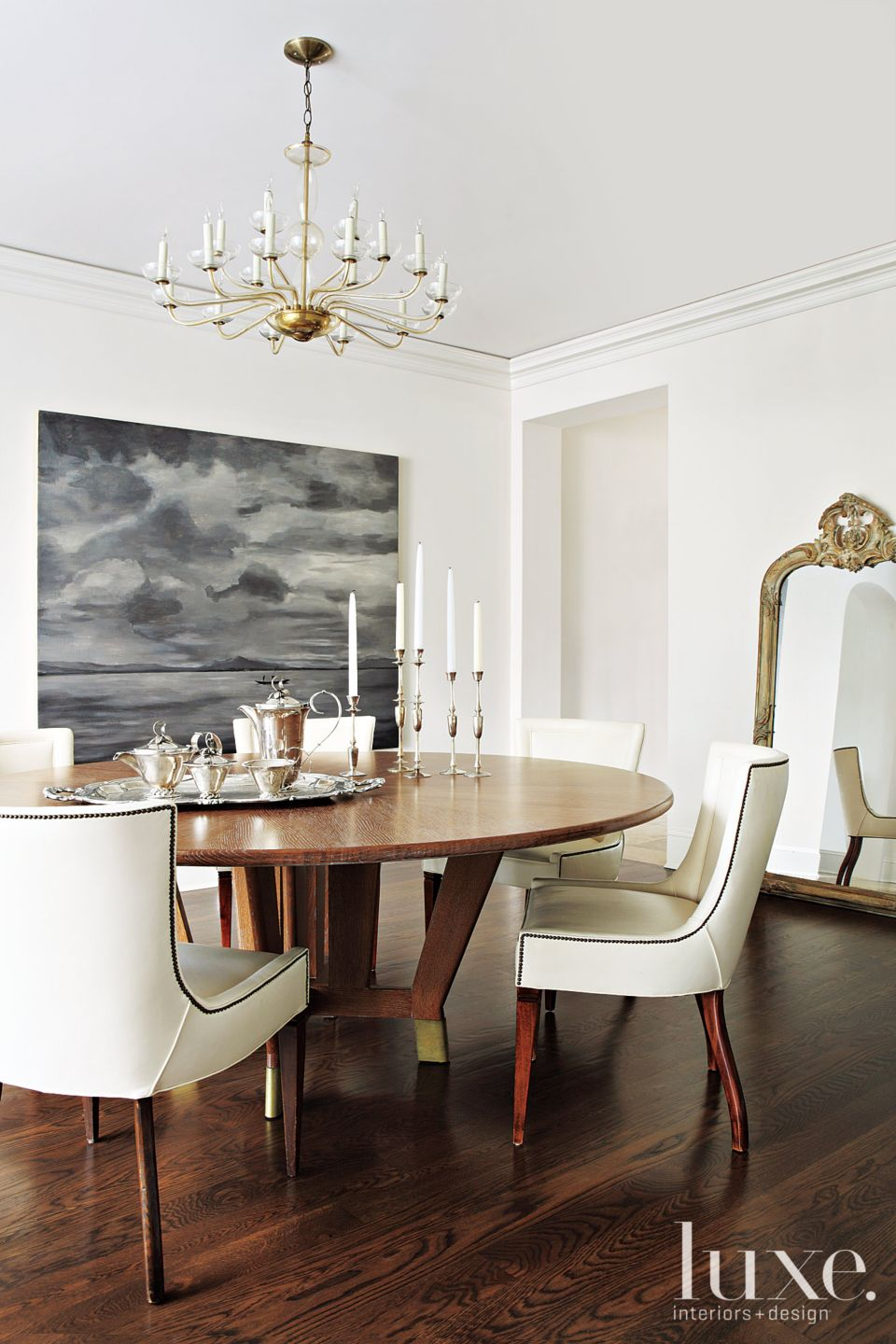 Mediterranean Neutral Dining Room with Round Table
