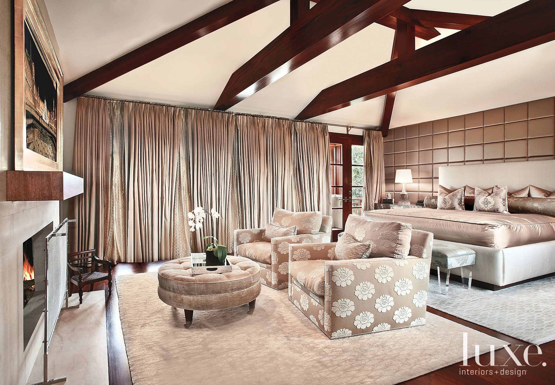 Contemporary Neutral Bedroom with Vaulted Ceiling