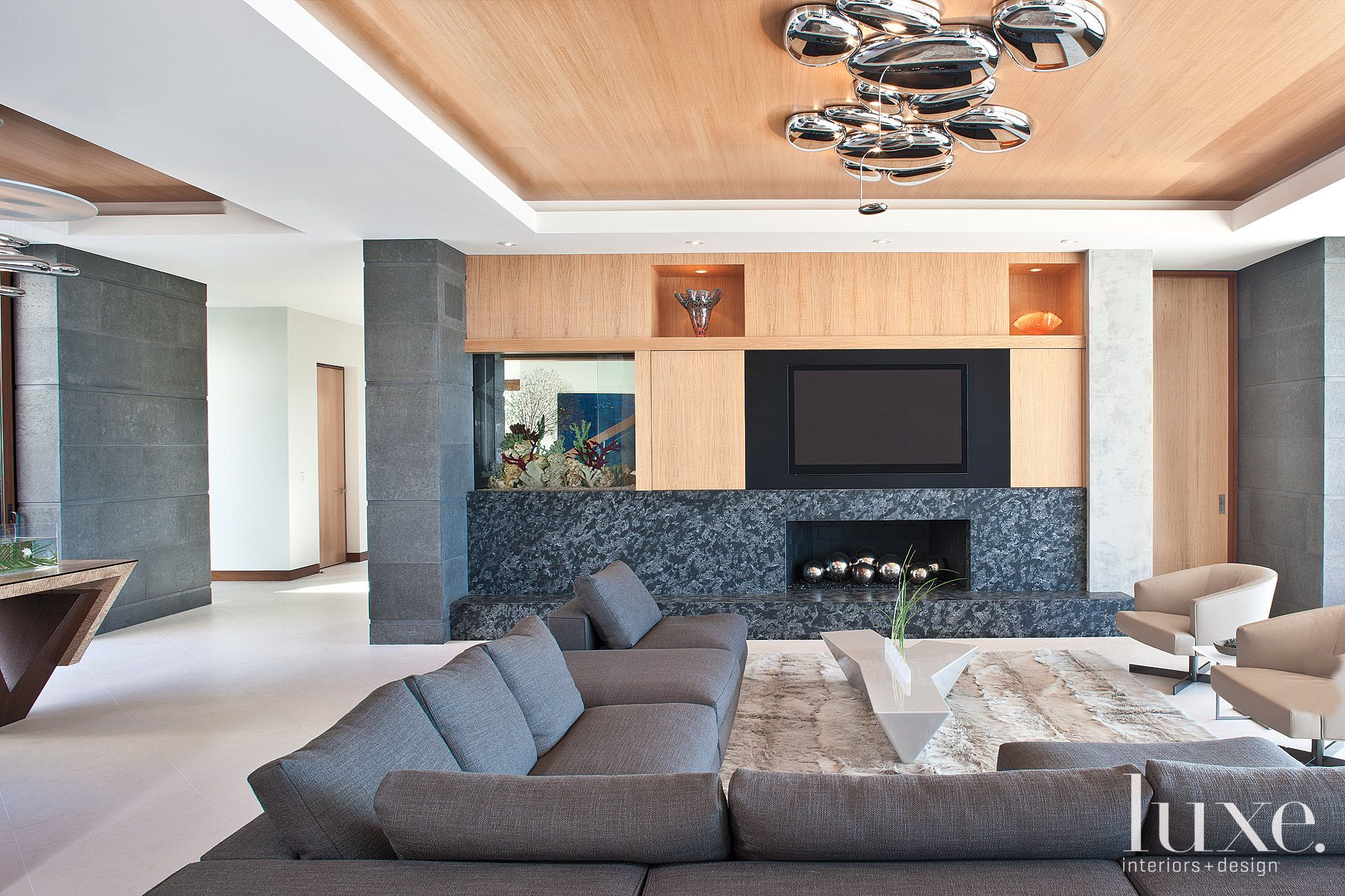 Contemporary Neutral Living Room with Goatskin Rug