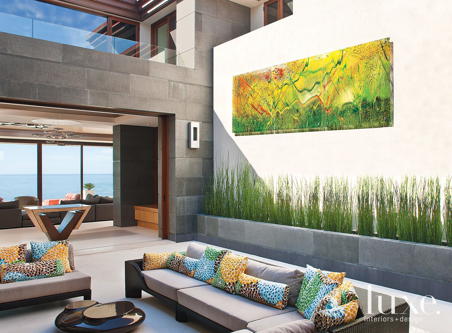 Contemporary Neutral Patio with Multicolored Accent Pillows