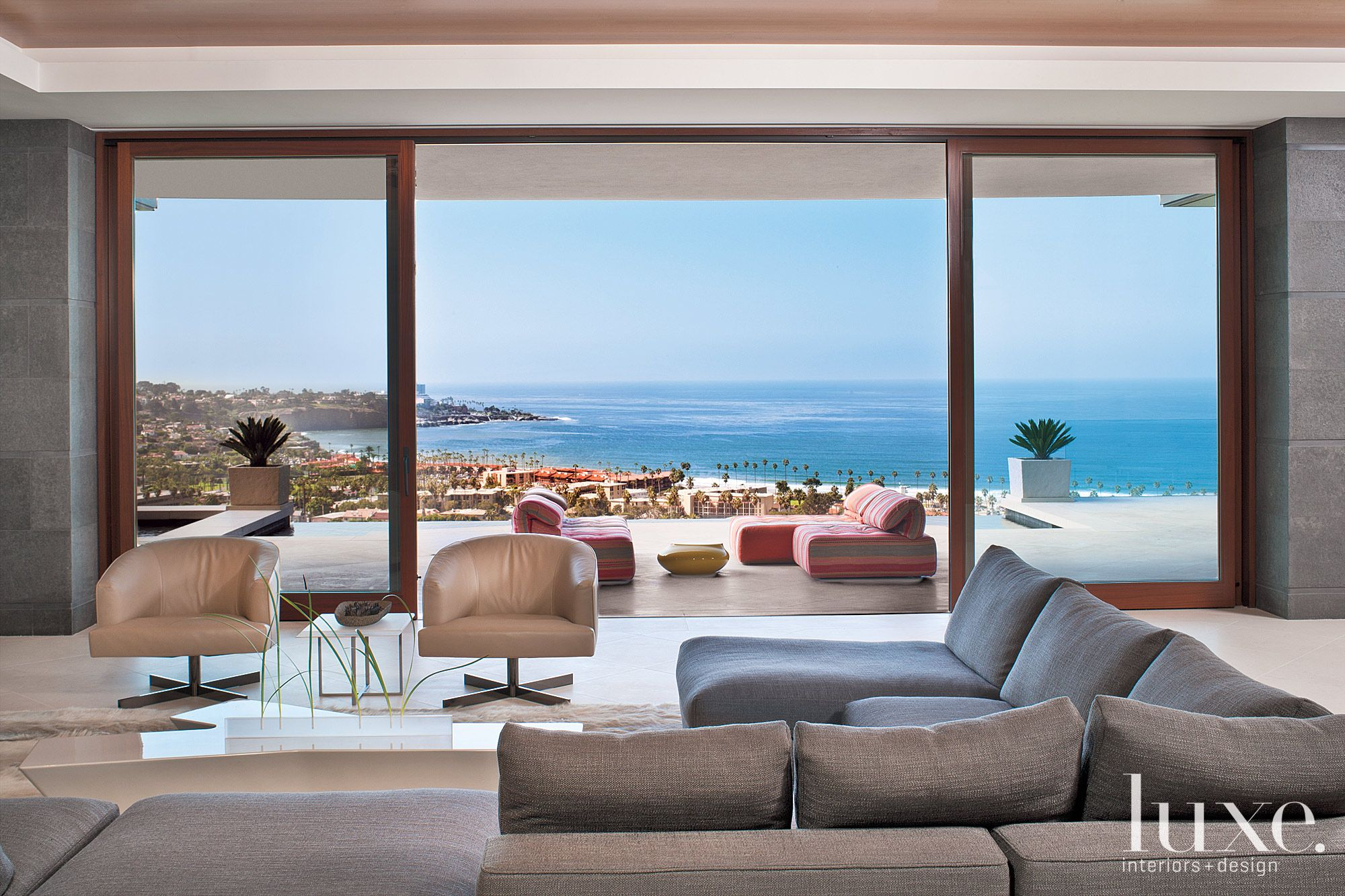 Contemporary Neutral Living Room with Ocean Views