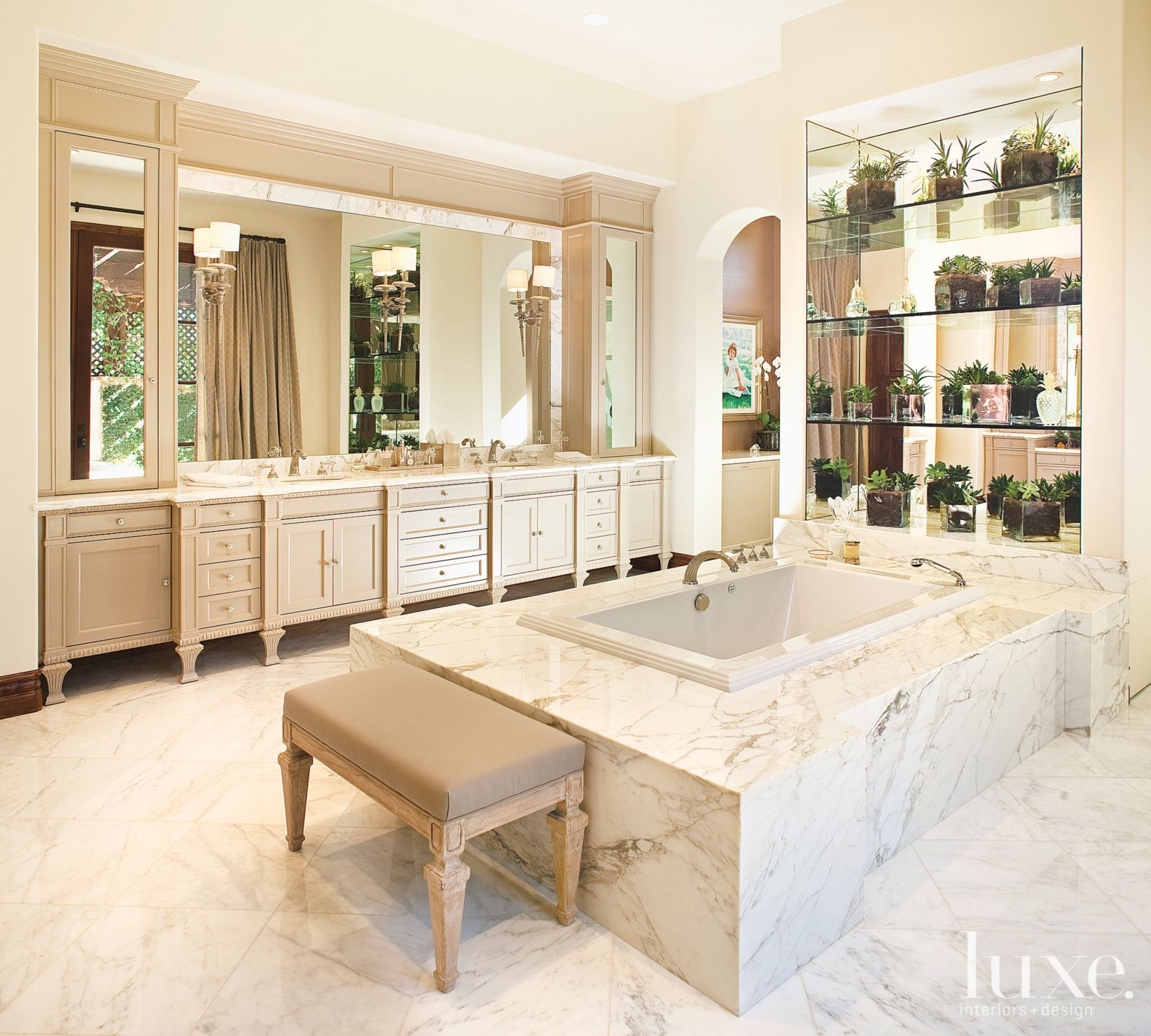 Transitional White Bathroom with Mirrored Alcove