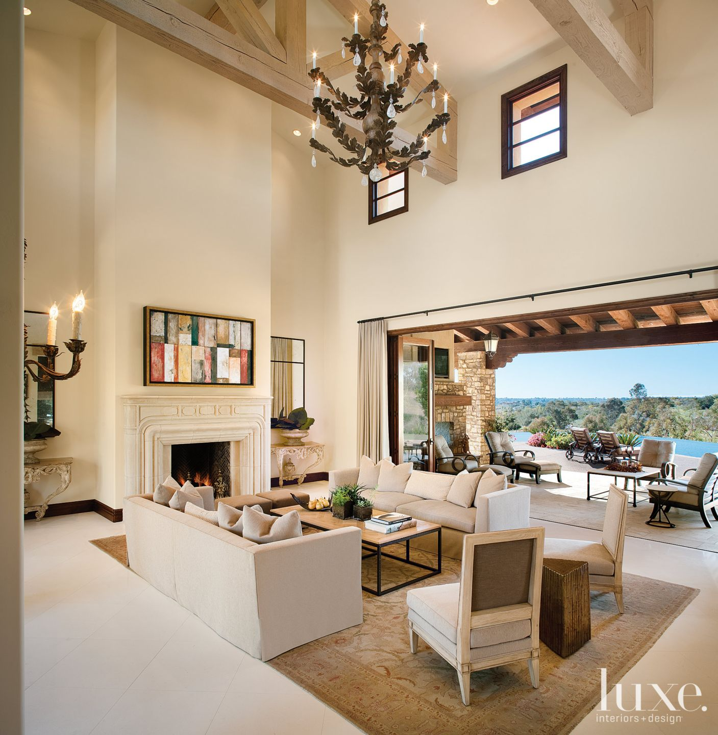 Transitional White Great Room with Double-Height Ceiling