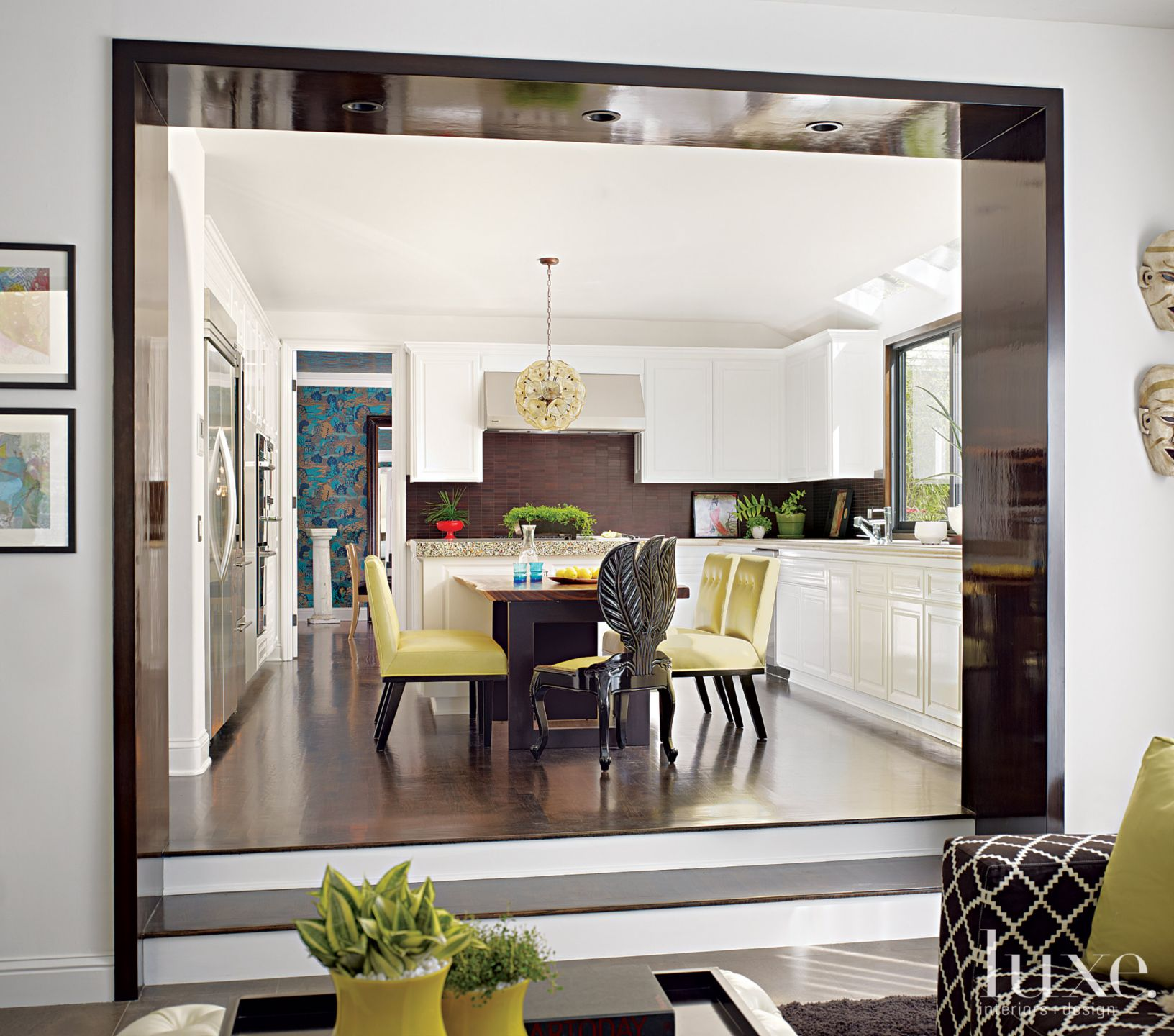 Eclectic White Kitchen with Breakfast Area