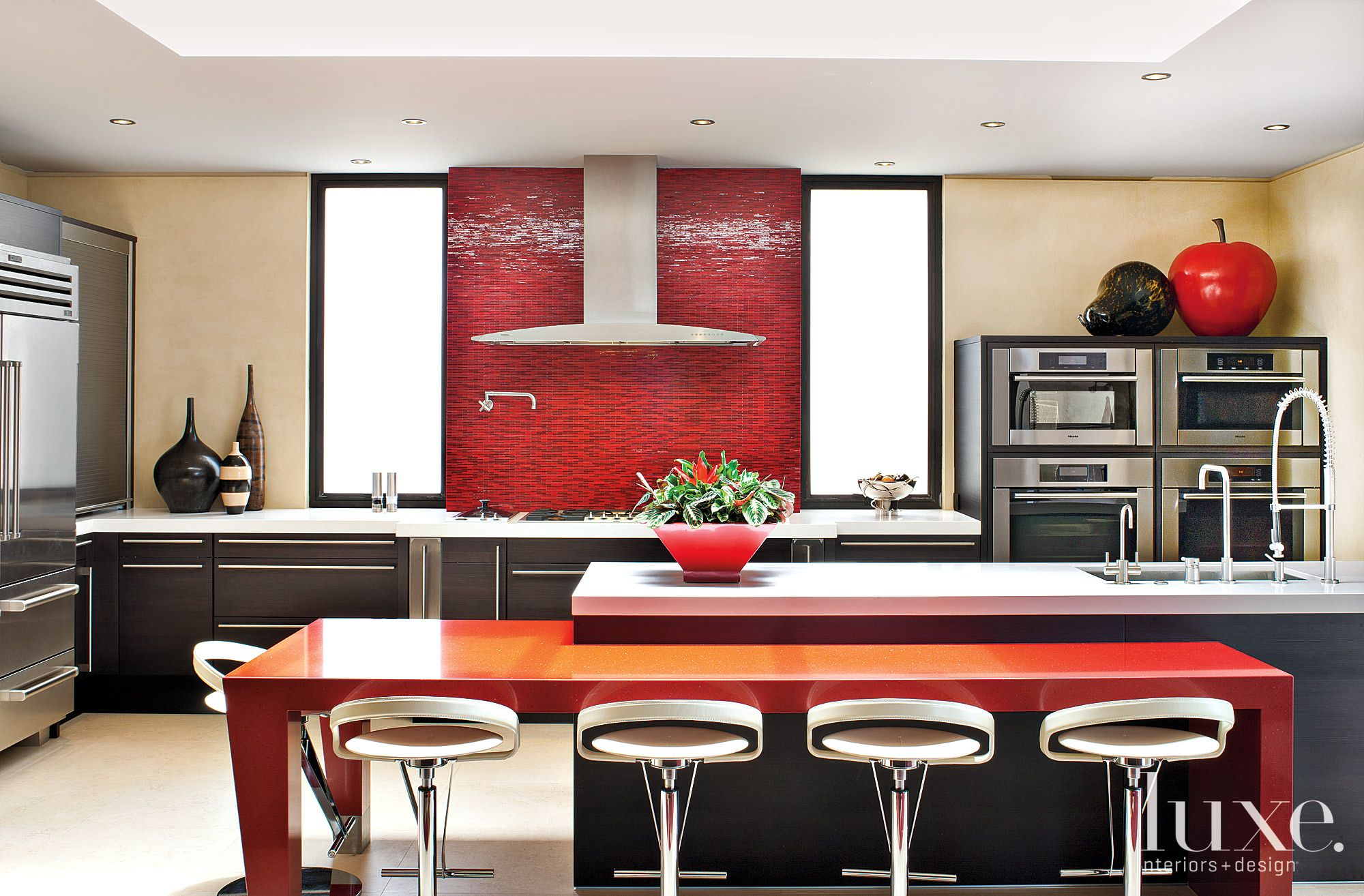 Modern Neutral Kitchen with Red Tilework