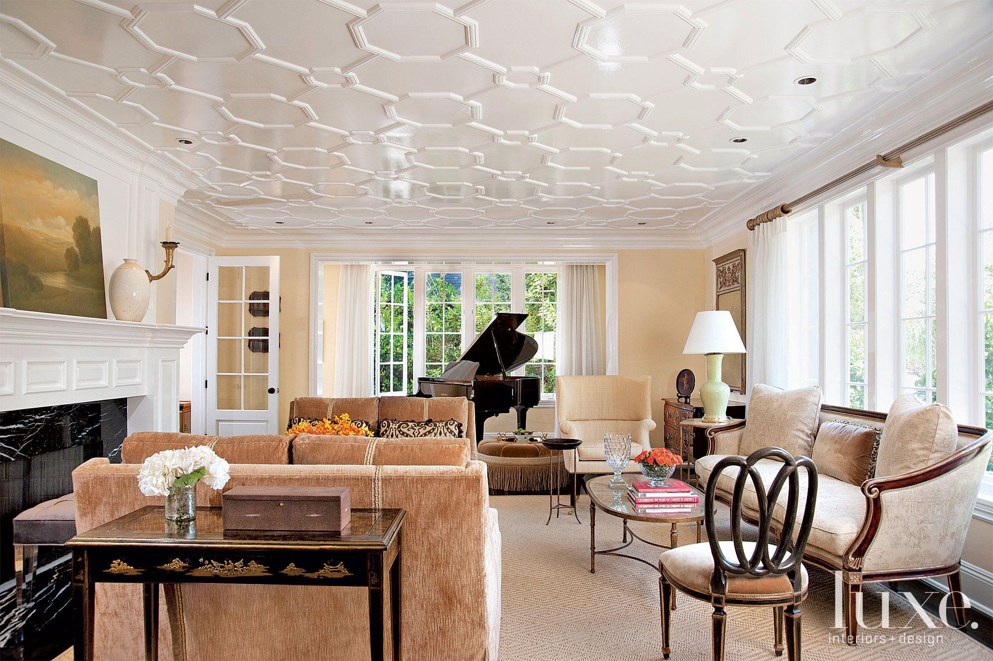 Traditional Neutral Living Room with Velvet Sofas